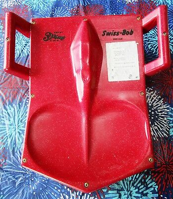 Vintage Swiss-Bob Red Plastic Snow Sled - Swiss Made - Dist By 3 Play Inc