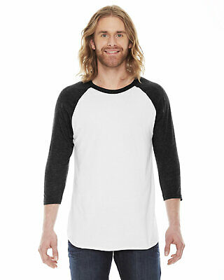715d32f00 AMERICAN APPAREL UNISEX 50/50 Raglan 3/4 Sleeve White Forest Green T ...