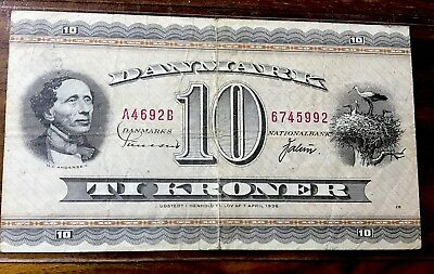 Denmark # 1936 Vg Circ 10 Kroner  Old Banknote Paper Money Currency Bill Note
