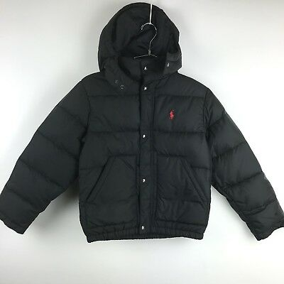 Polo Ralph Lauren Black Puffer Jacket detachable Hood Youth Size Small