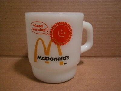 Vtg Anchor Hoking FIRE KING Milk Glass Mc Donalds Good Morning Coffee Mug Cup