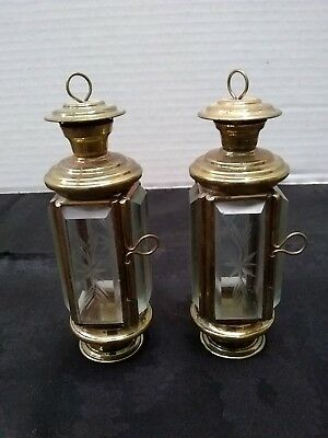 Pair 2 antique vintage etched glass chamber lamps, not oil, minature