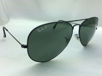 eb73be764b Ray Ban Aviator Large RB3025 002 58 Black   Green Polarized Sunglasses  Pre-owned