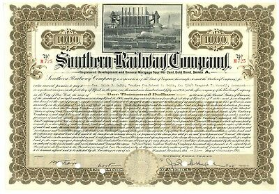 Southern Railway Company. Bond Certificate