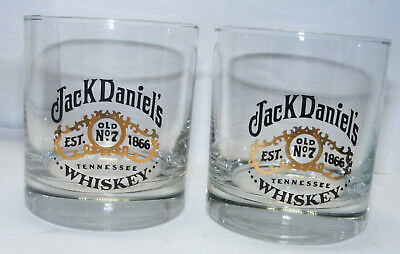 SHOT GLASS and Pair of  vintage JACK DANIEL'S Tennessee Whiskey GLASSES old no 7
