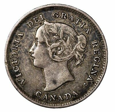 1892 Canada Silver Five 5 Cents Queen Victoria Canadian British Coin KM#2