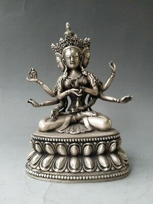 China's exquisite ancient pure copper three guanyin statue