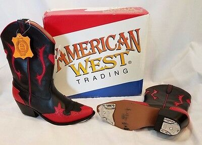 Woman Black & Red Cowboy Boots w Staccato Tap 9m Clogging Taps Excellent Quality