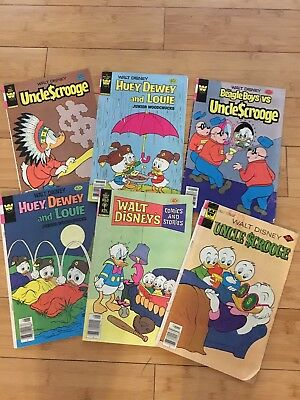 Lot of 6 Disney Comic Books, Uncle Scrooge, Donald Duck, Huey, Dewey & Louie