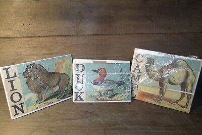 group of 3 Antique Sliced Victorian Puzzles LION CAMEL DUCK