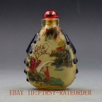 Antique Chinese Glass Internal Hand-painted People Landscape Snuff Bottles