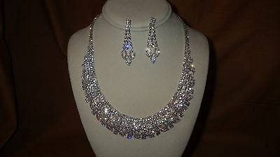 Silver tone Crystal Jewelry Set Clear Crystal Marquise design 3 row Prom Formal