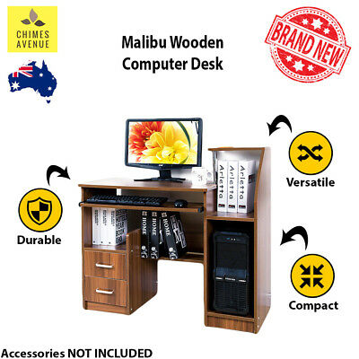 Malibu Deluxe Compact Computer Desk | PREMIUM QUALITY | with Drawers and Shelve