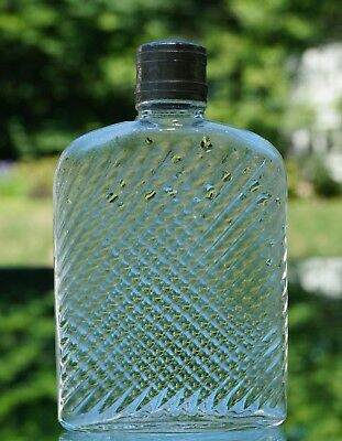 Antique Pattern Molded Criss-Cross Pocket Whiskey Flask