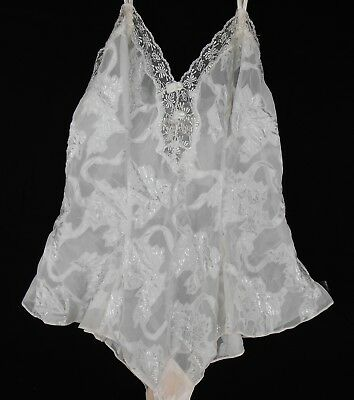 VICTORIA SECRET White Satin Sheer Lace One Piece Teddy L