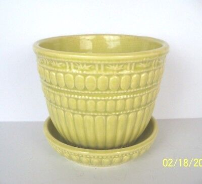 Vintage Yellow McCOY Beaded Flower Pot with Attached Saucer, Large 5.5 Inches