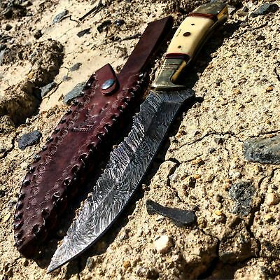"10.5"" Ful Tang Damascus Blade Hand Made Hunting Knife with Leather Sheath"