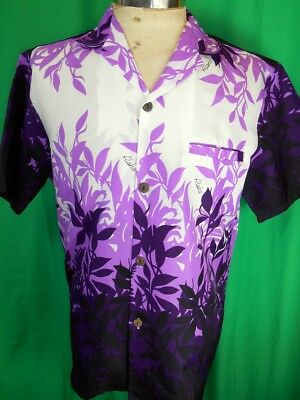 Vintage Printed Purple Royal Creations Polyester Tiki Aloha Hawaiian Shirt S