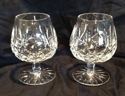 Pair Of Waterford Lismore Crystal Brandy Snifter Glasses