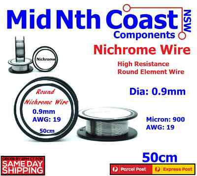 Nichrome Round Resistance Wire Dia 0.9mm 900 Micron 19 AWG Heater Elements 50cm
