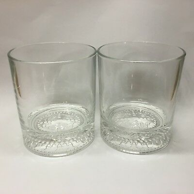 Crown Royal Whiskey Rock Glasses Lot of 2 Logo Embossed On Bottom Made In Italy