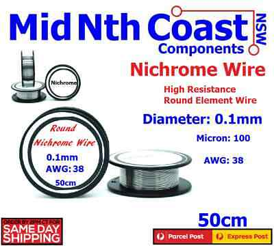 Nichrome Round Resistance Wire Dia 0.1mm 100 Micron 38AWG Heater Elements 50cm