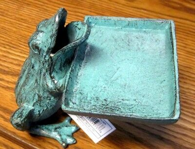 Cast Iron FROG  Business Card Holder Desk Store Counter Verdigris Green NWT