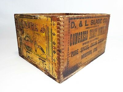 Vint D & L Slade Co Congress Yeast Powder Wood Box Crate/paper Label/ink Stamped