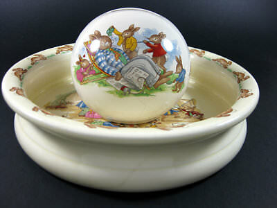 Royal Doulton Bunnykins Child's 2 Piece Set Cereal Bowl & Money Box / Sold As Is
