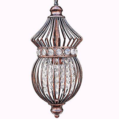 Starthi Mini Lantern Crystal Chandelier Pendant Light, Antique Ceiling Lamp With