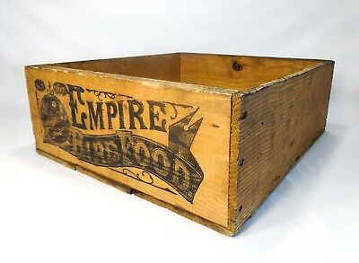 Early 20Th C Vint Empire Bird Food Wood Box Crate W/stamped Black Ink Sidewalls
