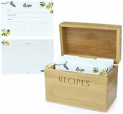 Mint + Elm Recipe Box Set with 100 4x6 recipe cards, 10 dividers, bamboo box,