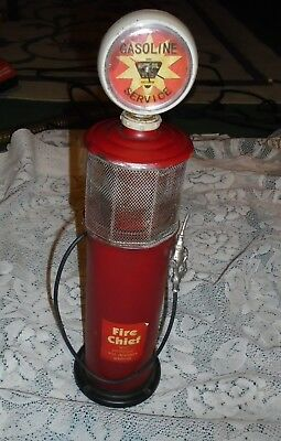 Fire Cheif Gas Pump Metal/plastic  With Working Clock Bank