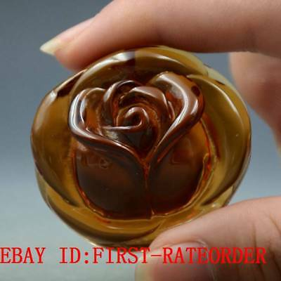 21g 100% Natural Baltic Amber Stone Hand-carved Rose Flower Statue Pendant F26