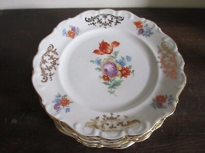 Schumann Bavaria Germany US Zone Dresden Flowers Set Of 6 Bread And Butter Plate