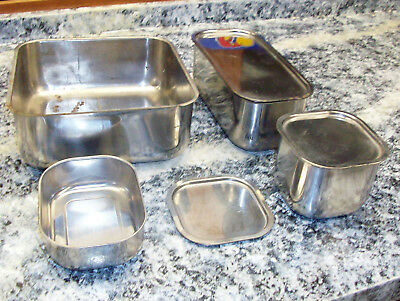 Lot of 4 Stainless Steel Containers, some have lids, Vollrath