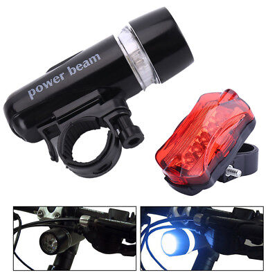 5 LED Mountain Bike Bicycle Cycle Cycling Front & Rear Tail Lights Waterproof