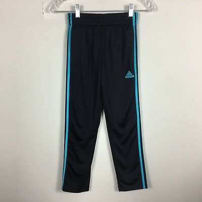 """ADIDAS Youth Boys Size S Inseam 23"""" Athletic Black Blue Striped Track Pants"""