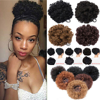Afro Bun Curly Ponytail Puffs Drawstring Ponytails Clip In Hair Extensions US YT