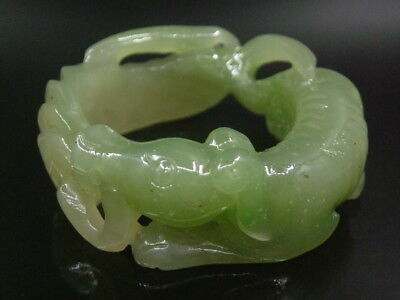 Antique Chinese Celadon Nephrite HETIAN-JADE-Archer's Thumb Rings LUCK-DOG