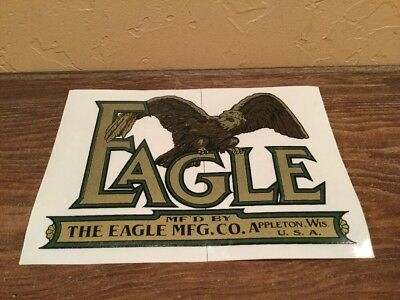 Reproduction Vintage Eagle Mfg. Co Decal Sticker Appleton Wis