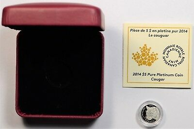 2014 $5 Canadian Cougar 1/10 oz. Proof .9995 Pure Platinum Coin w/OGP and COA.