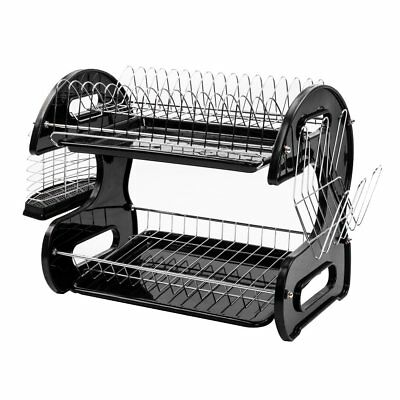 Multifunctional Kitchen Dish Cup Drying Rack Holder Sink Drainer 2-Tier Black