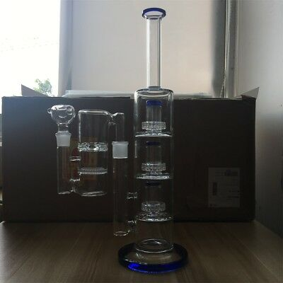 Hookah Water Pipe Bong Glass 15 Inch Quadruple Percolators with Ash Catcher