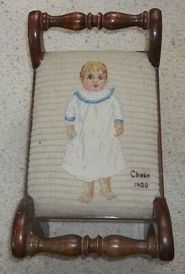 """OMG!  DATED 1920 adorable BABY BOY """"CHASE"""" WHITE GOWN NEEDLEPOINT FOOTSTOOL"""