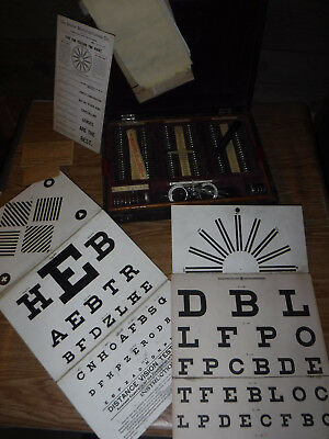 Antique Vintage Optometrist Optician Set Travel With Eye Charts Old L@@k