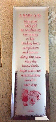 New Mirror Reflection Plaque Stand Baby It's A Girl Pink Inspirational Newborn