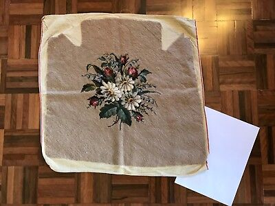 Antique vintage large tapestry chair seat cover floral bouquet rose gerbera