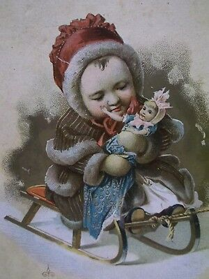 Girl w/Doll on Sled,Coat,Hat-Christmas-Victorian Trade Card-McLaughlin's Coffee