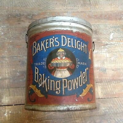 black memorabilia  Bakers Delight Baking Powder Tin Kitchen Ware